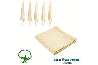 Set of 6 Cotton Waffle Tea Towels 50x70 cm Natural by Rans