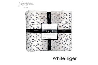 Cosy Faux Throw White Tiger by Jenny Mclean