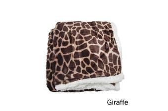 Luxury Faux Fur Reversible Throw Rug Giraffe