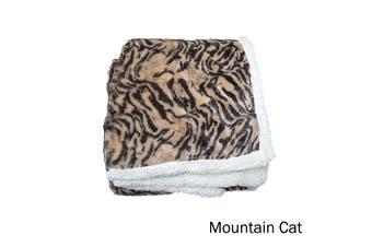 Luxury Faux Fur Reversible Throw Rug Mountain Cat