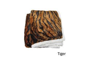 Luxury Faux Fur Reversible Throw Rug Tiger