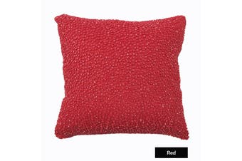 Corals Beaded Filled Cushion - Red