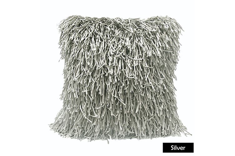 Morocco Shaggy Filled Cushion - Silver