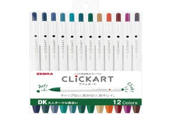 Zebra ClickArt (Click Art) Retractable marker pen 12 Dark colour set