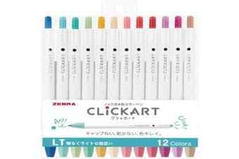 Zebra ClickArt (Click Art) Retractable marker pen 12 Light colour set