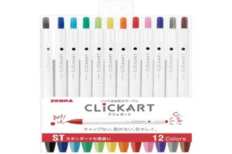 Zebra ClickArt (Click Art) Retractable marker pen 12 Standard colour set