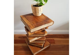 Side Table Corner Table Raintree Wood Book Stack Design with Natural Color Finish