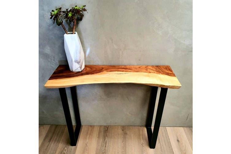 Bungalow Console Table Live Edge Raintree Wood 100cm Matt Blatt - Live Edge Sofa Table