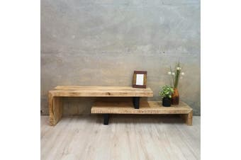 Adjustable Length TV Stand Unit 1.2m to 2.1m Solid Mango Wood