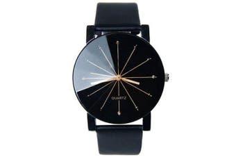 REEBONZ New Style Fashion Ladies Dress Quartz Black Sun Rays Watch- Black