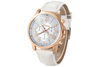 Geneva Bright Colors Leather Band Ladies Fashion Quartz Watch- White