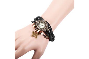 Retro Style Lady Quartz Watch Woven Bracelet- Black