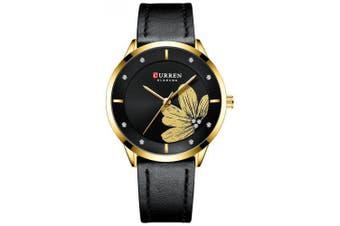 CURREN 9048 Ladies Waterproof Round Watch Simple Flowers Belt- Black