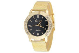 Geneva New Lady Net Belt Diamond Business Quartz Watch- Black