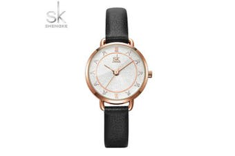 Sk K9001 Ladies Watch Waterproof Quartz Watch with Diamonds SHENGKE Watch- Black