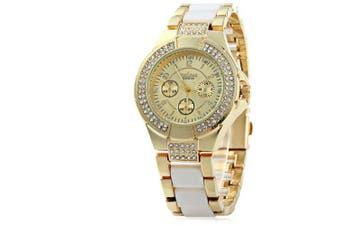 Geneva Ladies Luxury Diamond Bezel Quartz Watch- White