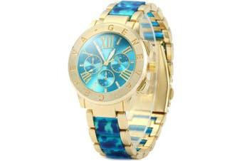 Geneva Ladies Quartz Watch with Leopard Print Plastic + Steel Band- Blue
