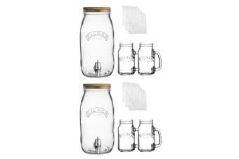 2PK Kilner 3L Kombucha Drink Maker & 400ml Glass Jars Making Set Dispenser w Lid