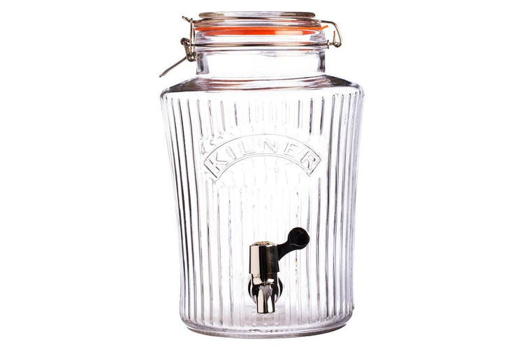 2PK Kilner 5L Vintage Drinks Dispenser Clip Top Glass Jar for Water Party Event