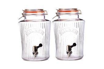 Kilner 8L Vintage Drinks Dispenser Clip Top Glass Jar for Water Party Event
