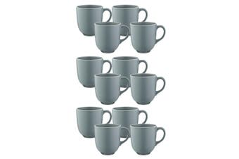 12pc Mason Cash 400ml Classic Stoneware Mugs Coffee Tea Hot Drink Home Cup Grey