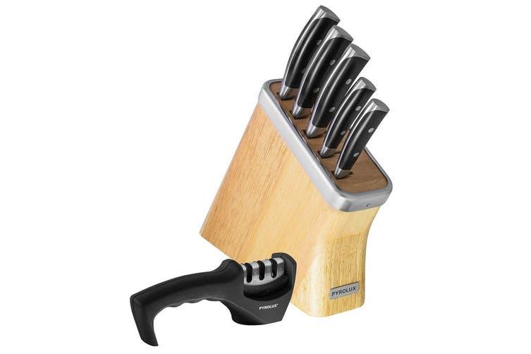 Pyrolux Precision 6pc Knife Block Set w  Sharpener Carving Paring Cooks Knives