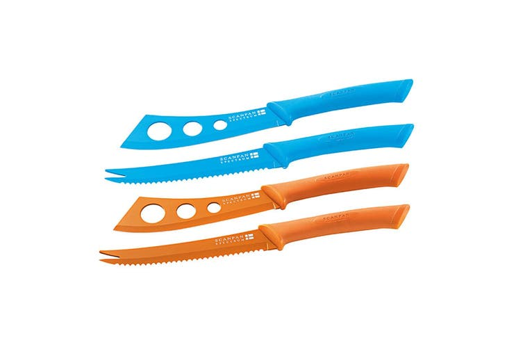 Scanpan Cheese Pate Knife Set Stainless Steel Non-Stick Cutlery Orange & Blue