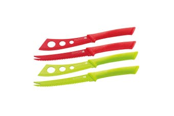 Scanpan Knife Set Cutter Cheese Pate Stainless Steel Non-Stick Cutlery Red Green