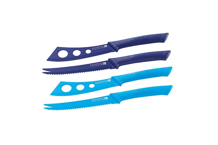 Scanpan Knife Set Cheese Pate Stainless Steel Non-Stick Cutlery Purple & Blue