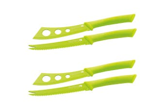 4PC Scanpan Knife Set Cutter Cheese Pate Stainless Steel Non-Stick Cutlery Green