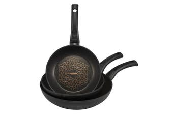 3PK Essteele Per Salute 20cm 24cm 28cm Skillet Set Induction Frying Pan Black
