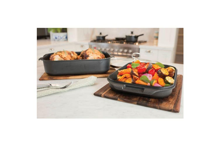 Pyrolux HA+ 3PC Set Double Roaster Grill Pan Lid Induction Oven Safe Baking Dish