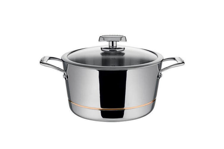 Scanpan Axis 5.2L Dutch Oven Casserole Pot Dish Induction Stainless Cookware Lid