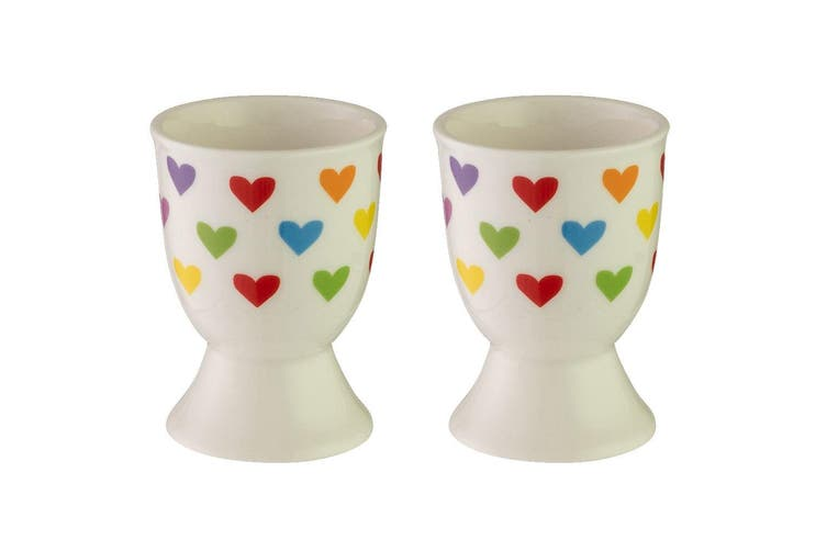 2pc Avanti Porcelain Boiled Egg Cup Holder Stand Kids Children Tableware Hearts