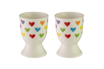 2pc Avanti Porcelain Boiled Egg Cup Holder Stand Kids Children Tableware Hearts