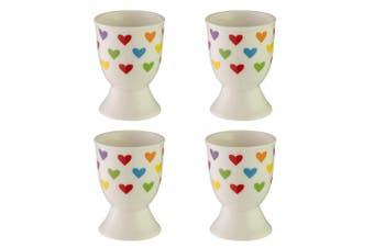 4pc Avanti Porcelain Boiled Egg Cup Holder Stand Kids Children Tableware Hearts