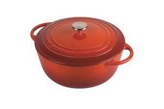 Pyrolux Pyrochef 20cm 2L Round Cast Iron Induction Gas Oven Safe Casserole Red