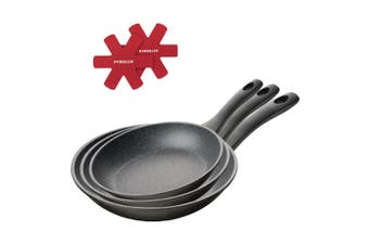 Pyrostone Pyrolux 3pc Non Stick Frypan Set with Protectors 20 26 30cm 11824