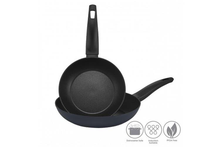 2pc RACO Minerale Non Stick 20cm 26cm Frypan Cookware Kitchen Frying Pan Set BLK
