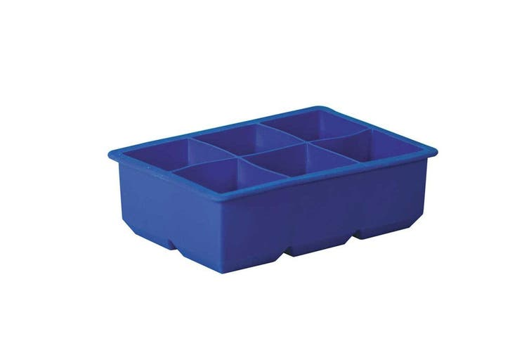 Avanti Silicone 6 Large Cup King Ice Cube Tray Big Drink Freezer Cocktail Blue
