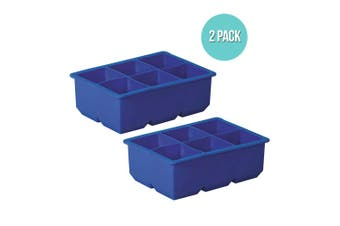 2pc Avanti Silicone 6 Large Cup King Ice Cube Tray Large Drink Freezer Cocktail