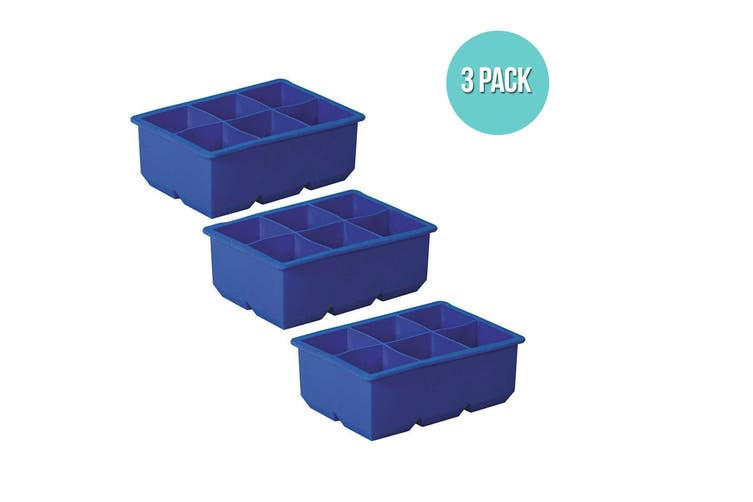 3pc Avanti Silicone 6 Large Cup King Ice Cube Tray Large Drink Freezer Cocktail