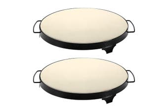 2pc Avanti BBQ Barbecue Oven 38cm Bread Pizza Baking Stone Carry Tray Cook Rack