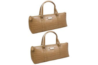 2x Avanti Wine Bottle Insulated Cooler Handbag Tote Purse Bag Caramel Crocodile