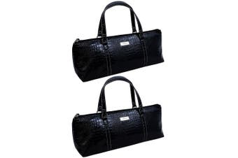 2x Avanti Wine Bottle Insulated Cooler Handbag Tote Purse Bag Black Crocodile