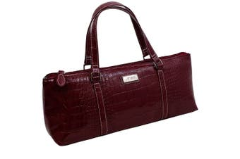 Avanti Wine Bottle Insulated Cooler Handbag Tote Carry Purse Bag Burgundy Croc.