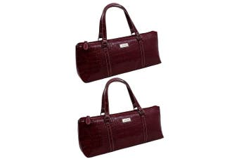 2x Avanti Wine Bottle Insulated Cooler Handbag Tote Purse Bag Burgundy Crocodile