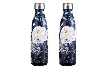 2x Avanti 500ml Vacuum Water Drink Bottle Bloom Stainless Steel Thermo Hot Cold