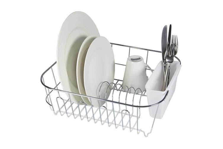 Avanti Slim Line Dish Rack Drying Holder Tray f  Cup Plates Cutlery WHT Small