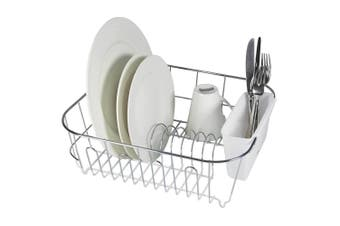 Avanti Slim Line Dish Rack Drying Holder Tray f  Cup Plates Cutlery WHT Small